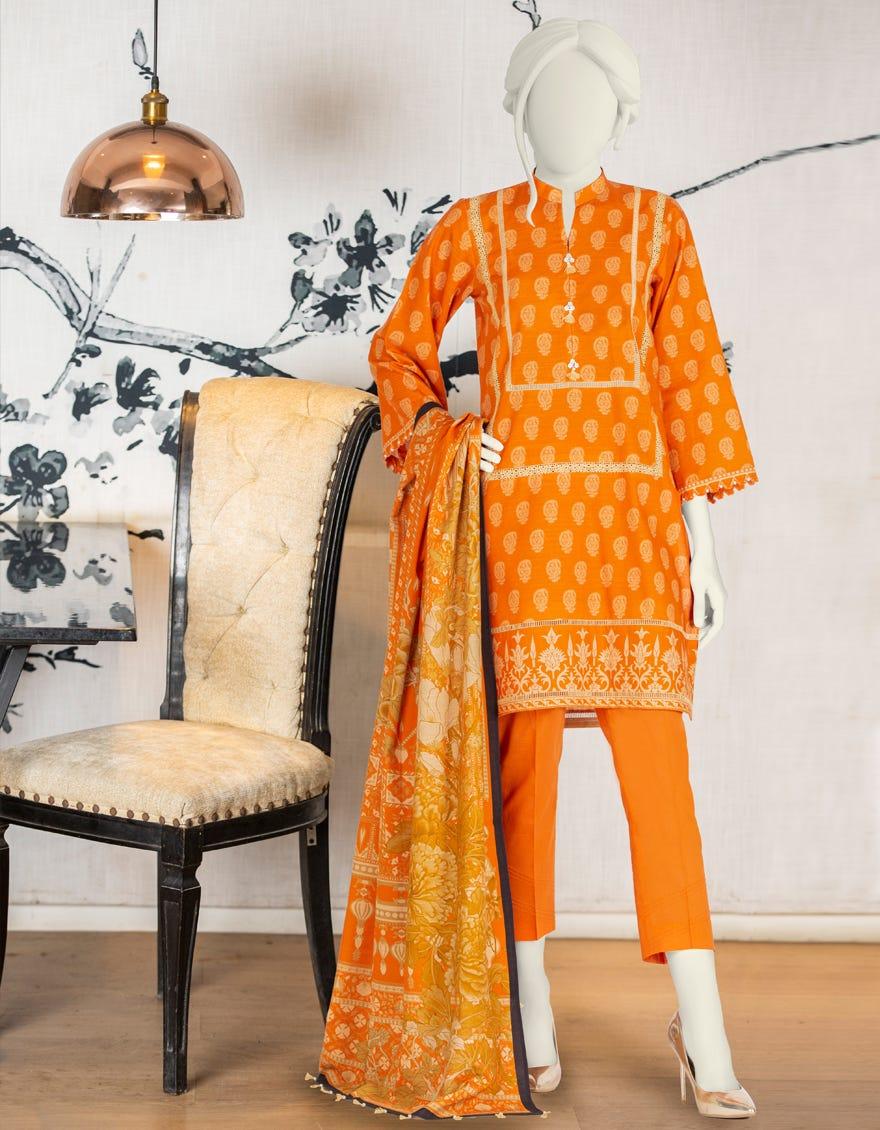 J. winter collection orange color dress 2021