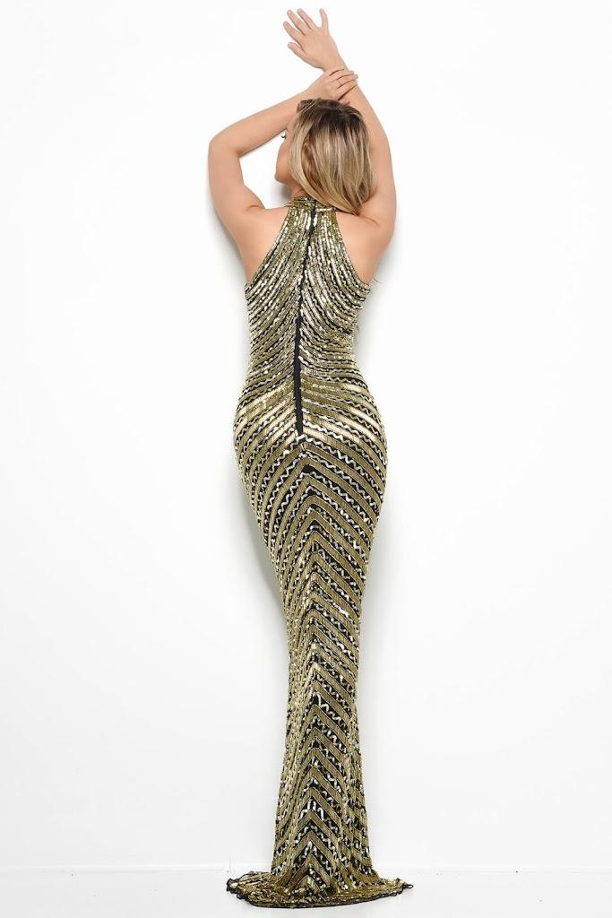 Halter Beaded Jasz Couture Prom Dress Gold/Black color Back side