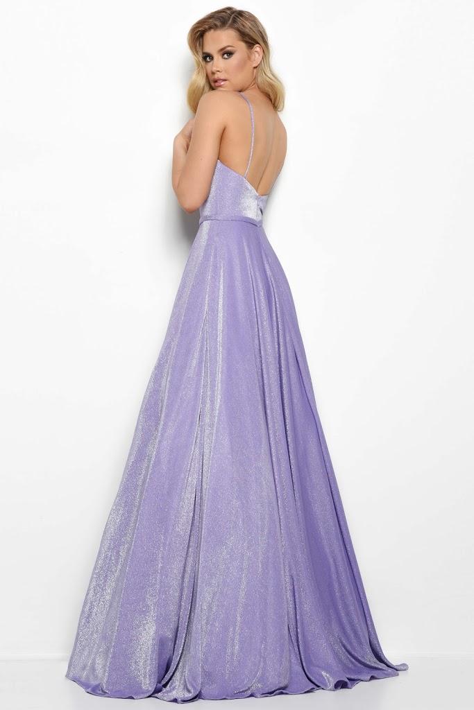 V-neckline Jasz Couture prom dress Purple color Front side