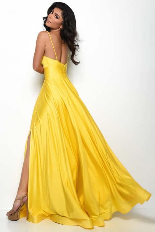 V-neck prom dress by Jasz Couture Back side