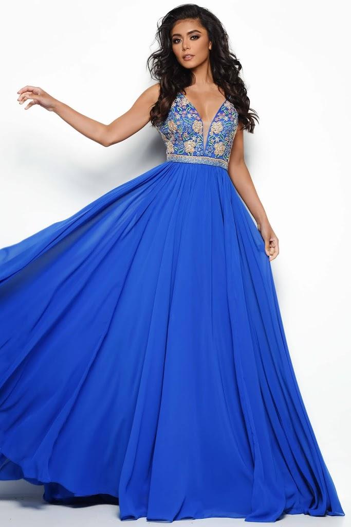 Pluning Neckline Jasz Couture Royal Blue color