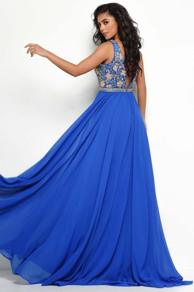 Pluning Neckline Jasz Couture Royal Blue color Back side