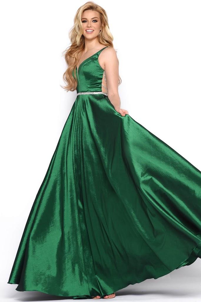 v-neckline Prom Dress Jasz Couture hunter green color