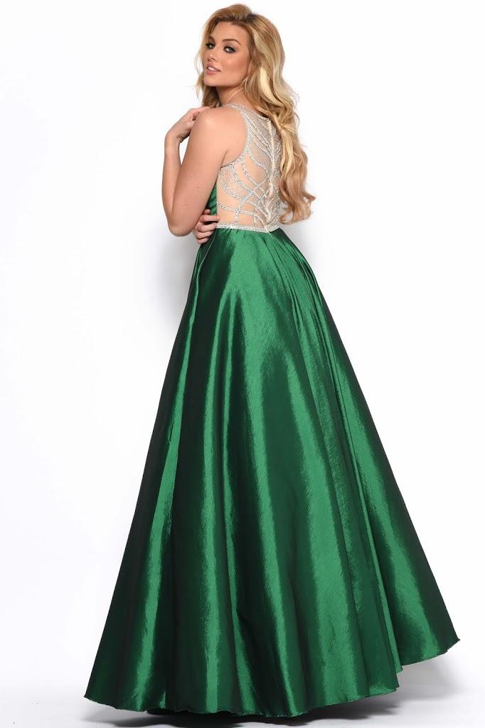 v-neckline Prom Dress Jasz Couture hunter green color Back side