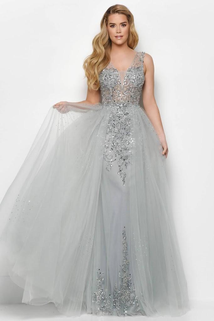 A-line V-neckline prom dresses by jasz couture silver color