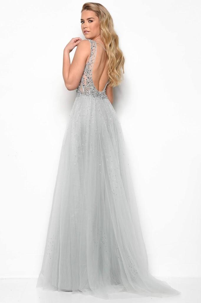 A-line V-neckline prom dresses by jasz couture silver color Back side