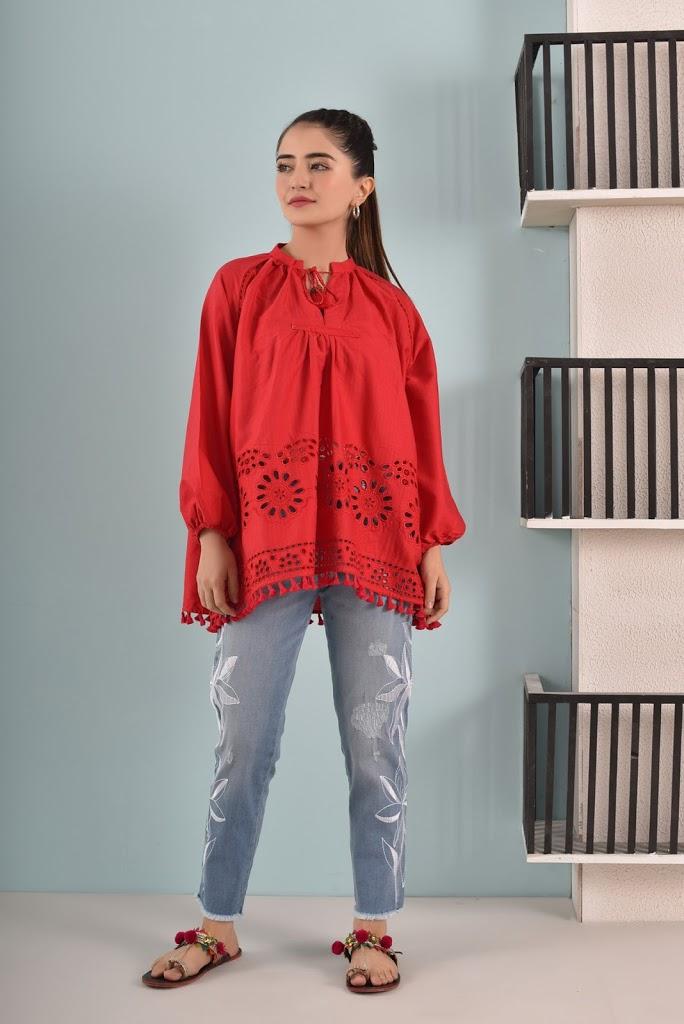Pret winter fuson collection short kurti red color