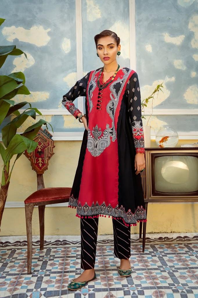 Greta Maroon & Black color warm suit Unstitched inter collection