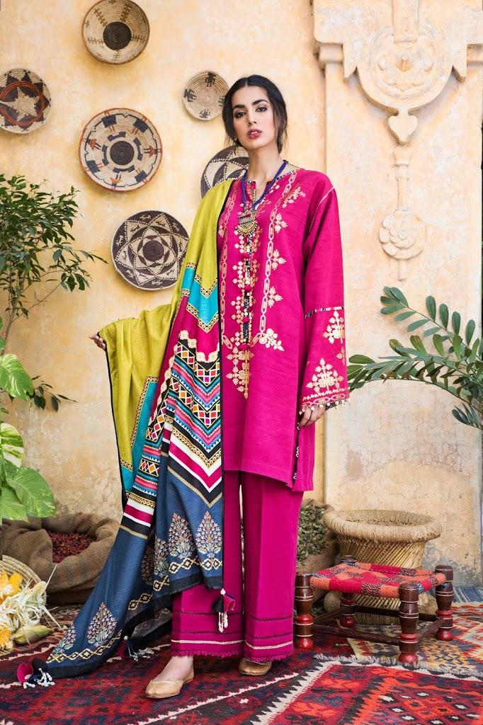 Unstitched 3-piece Khaddar suit Majenta color winter collection
