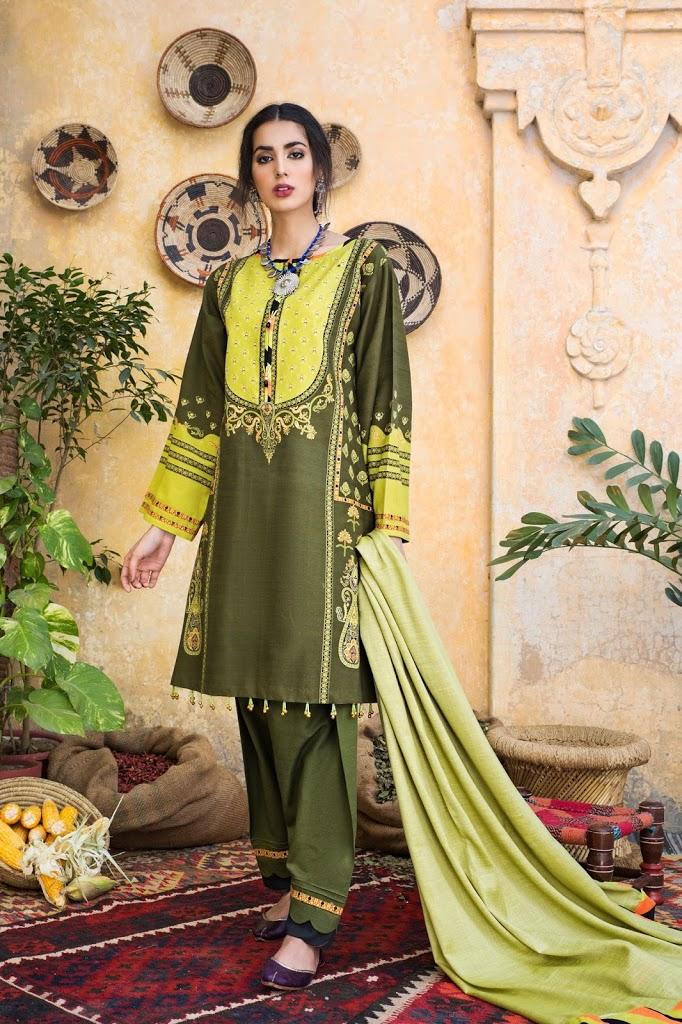 Unstithced khaddar 3-piece suit olive color winter collection