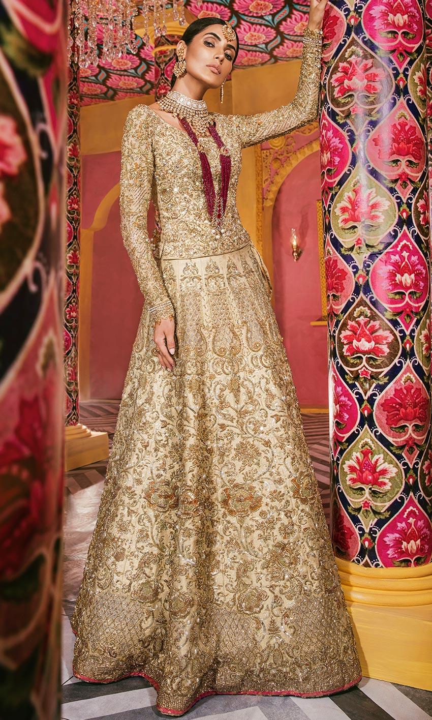 Nomi Ansari Golden Color Lehnda Bridal dress