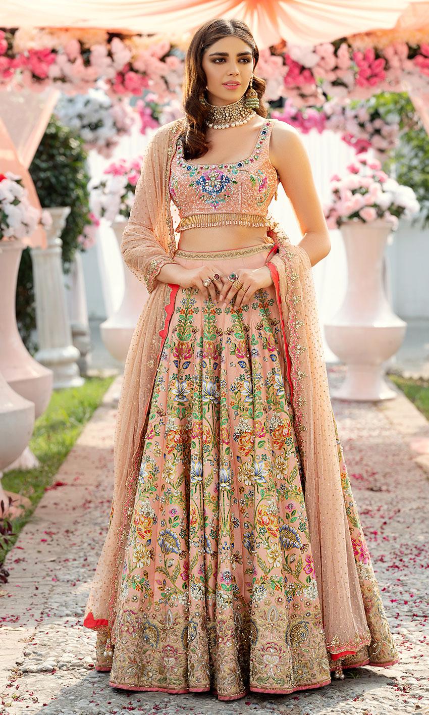 Nomi Ansari Peach Color Bridal Dress Embellished works