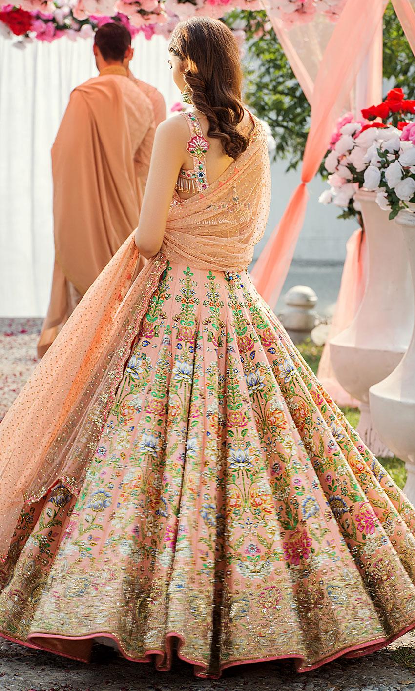 Nomi Ansari Peach Color Bridal Dress Embellished works bakc-side view