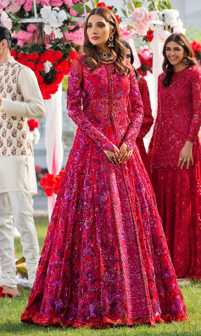 Nomi Ansari Red Color Bridal Dress Embellished work