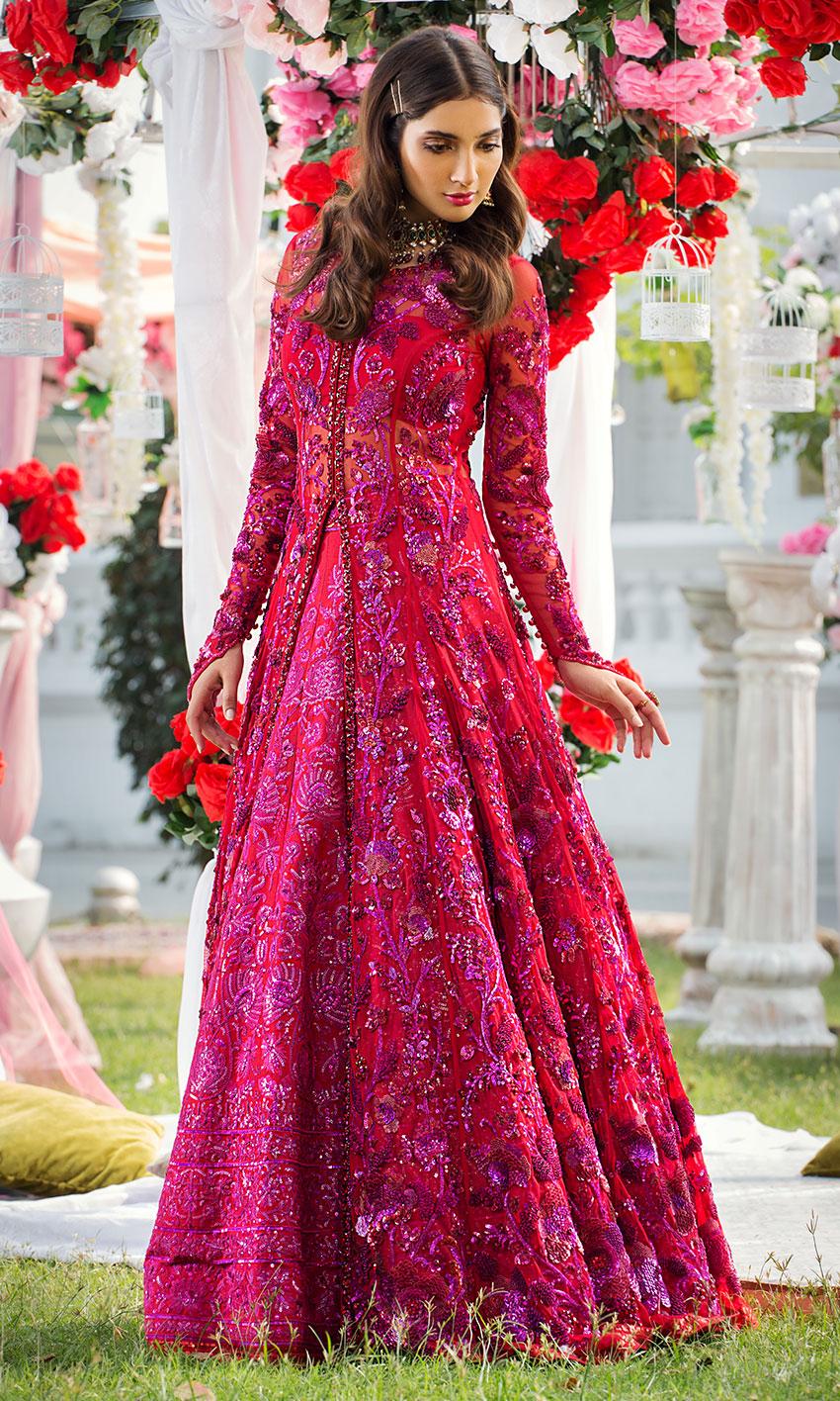 Nomi Ansari Red Color Bridal Dress 2021