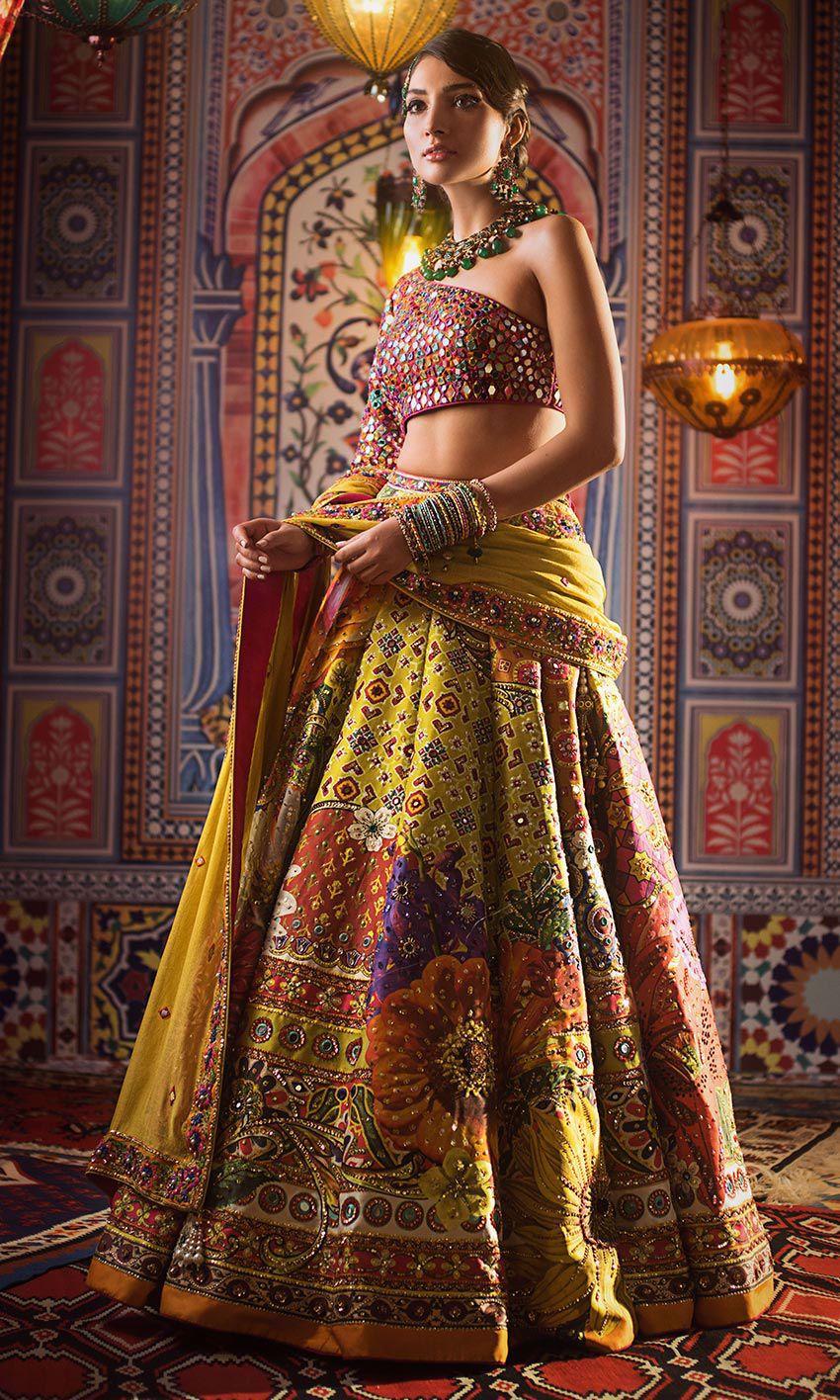 Nomi Ansari Yellow choli & Multi color lehnga bridal dress mehndi day
