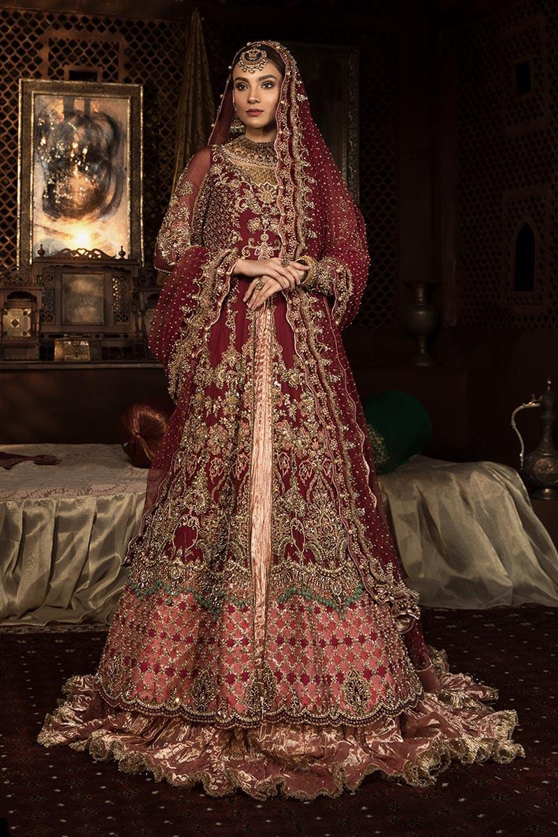 Maria B Red color bridal dresses full-foront