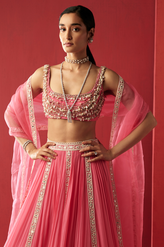 Ridhi Mehra Vintage rose net jeweled embroidered blouse and chiffon embroidered lehenga