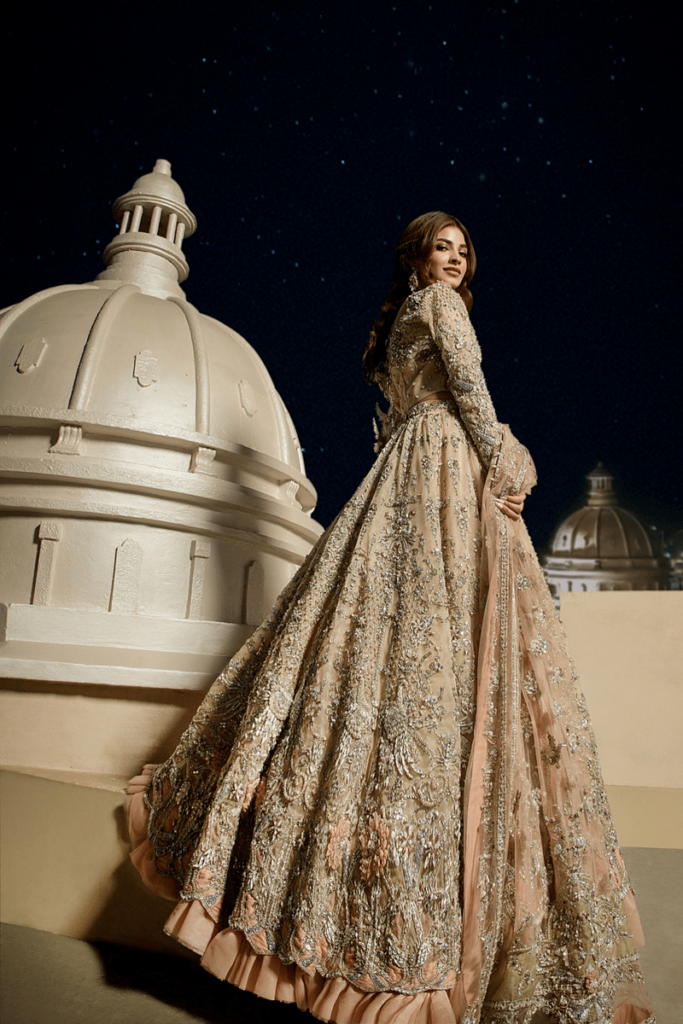 Maxi Style Peach Color Bridal Dress Collection From Erum Khan 2021