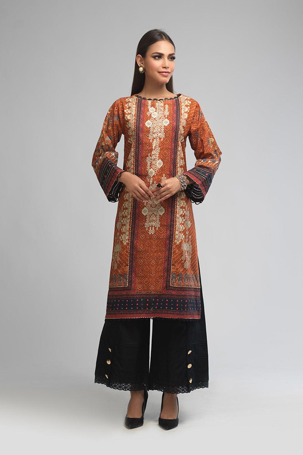 Bonanza Satrangi Unstitched winter Brown dress