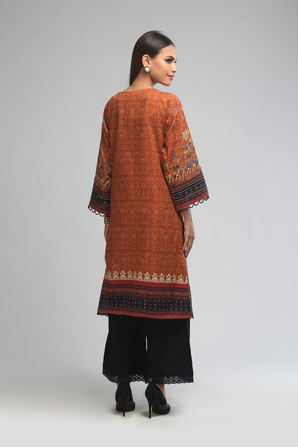 Bonanza Satrangi Unstitched winter Brown dress Back side