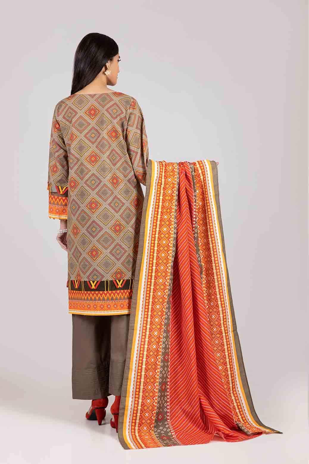 Bonanza Satrangi Ready to wear brown color suit back side view