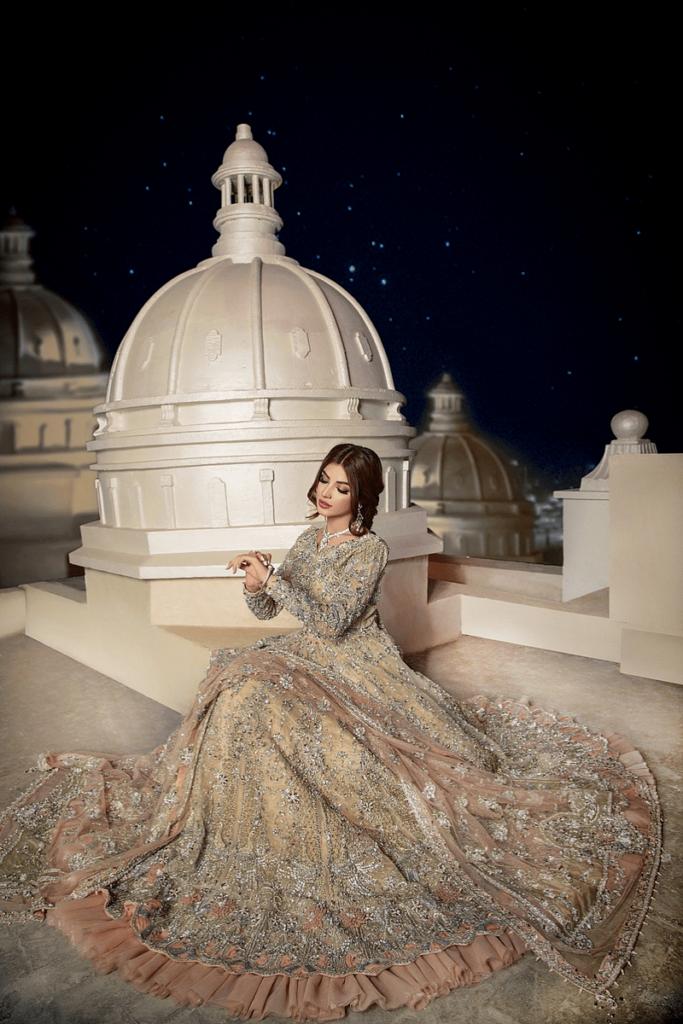 Maxi Style Peach Color Bridal Dress From Erum Khan