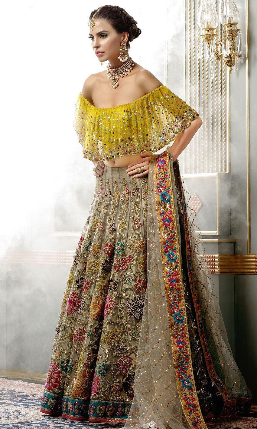 Nomi Ansari Bridal dress Orange color choli heavy embroidered work lehnga