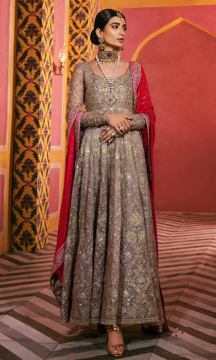 Nomi Ansari Gray Color Bridal Dress 2021