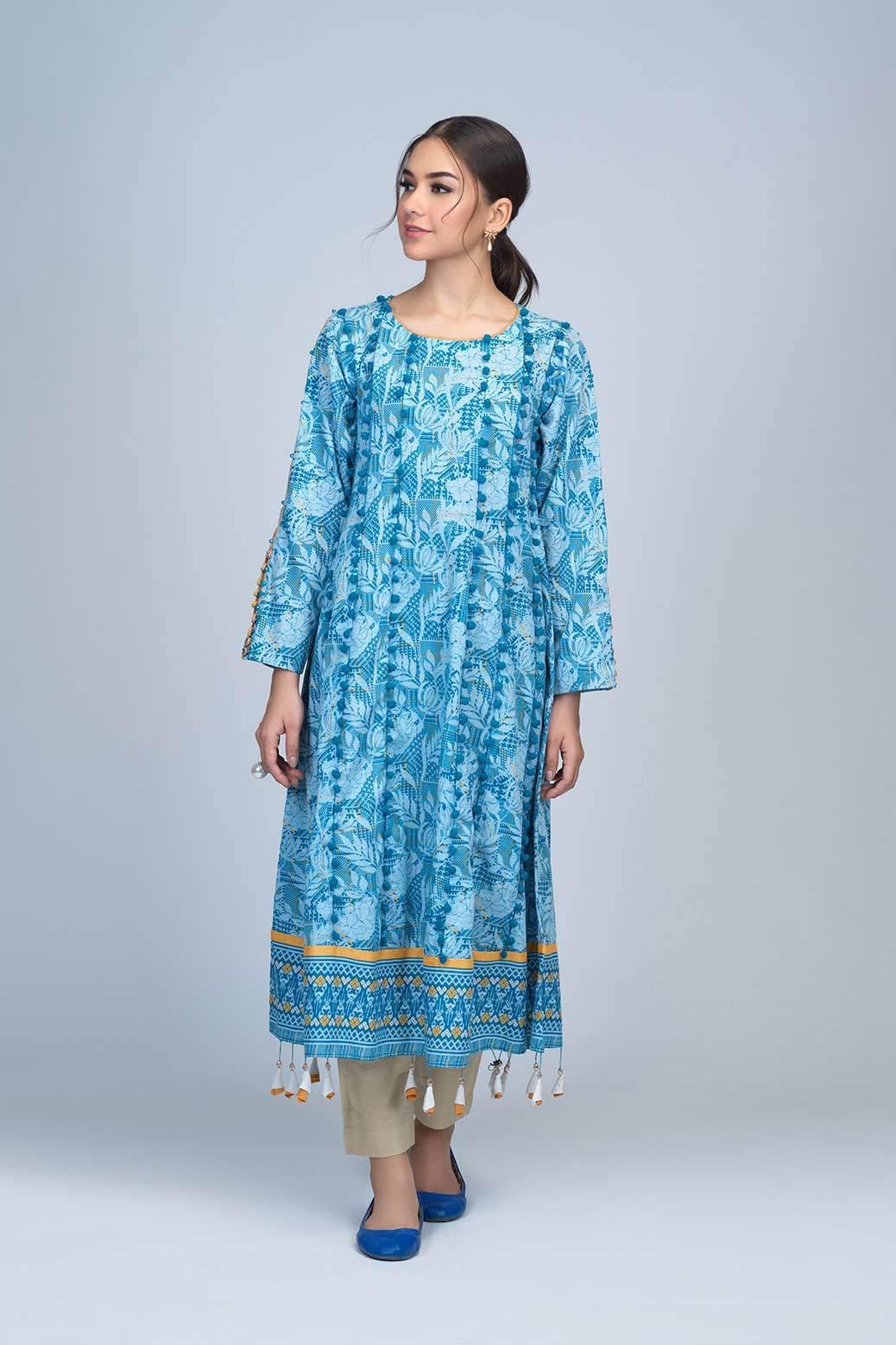 Bonanza Satrangi Winter Unstitched Dress Sky blue color