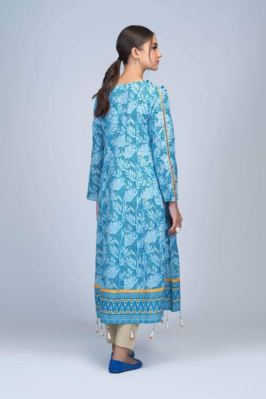 Bonanza Satrangi Winter Unstitched Dress Sky blue color back side view