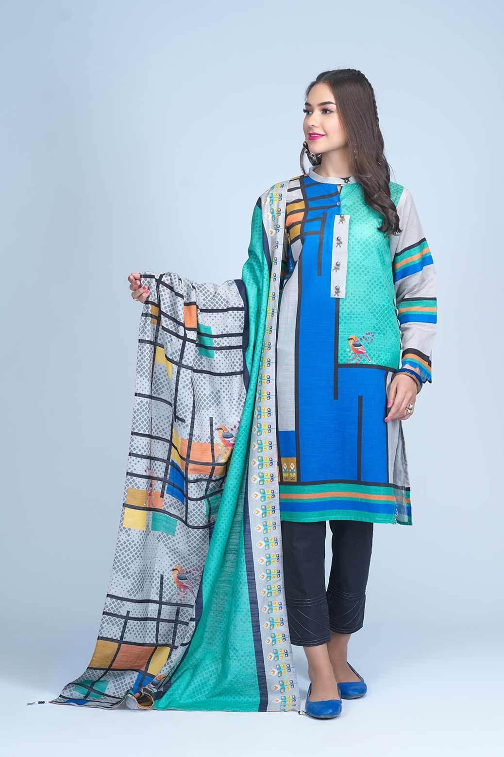 Bonanza Satrangi two Piece Winter Dress Blue printed color