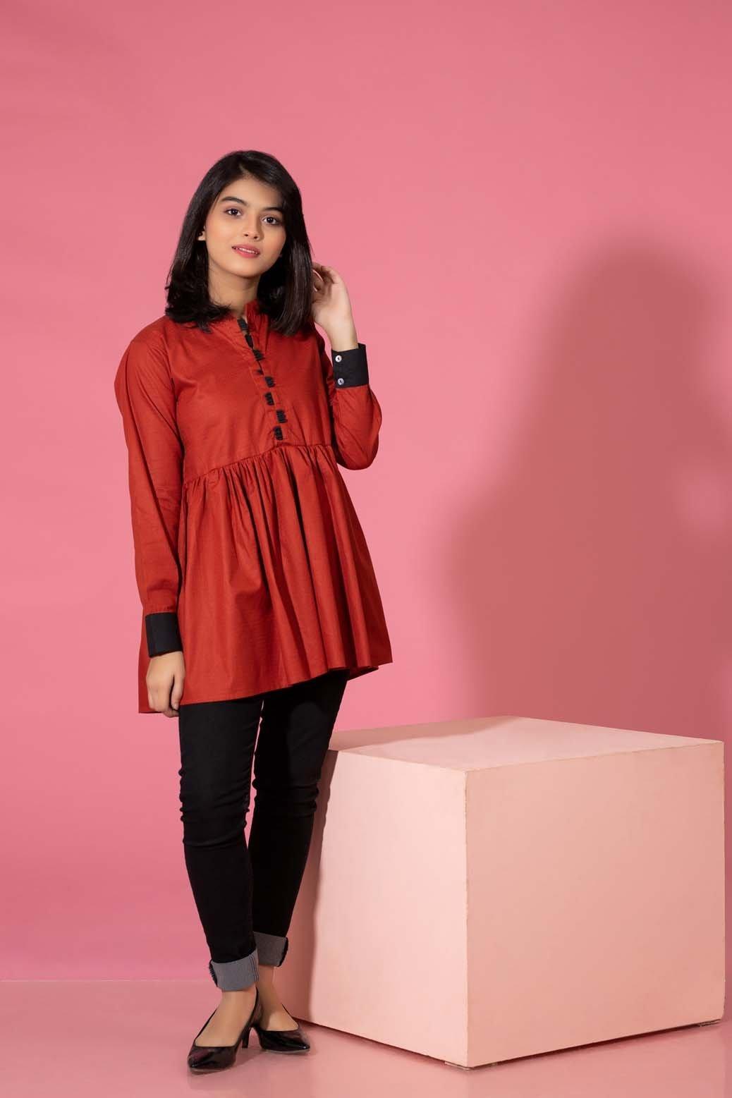 Bonanza Satrangi Pret Red Kurti winter collection 2021
