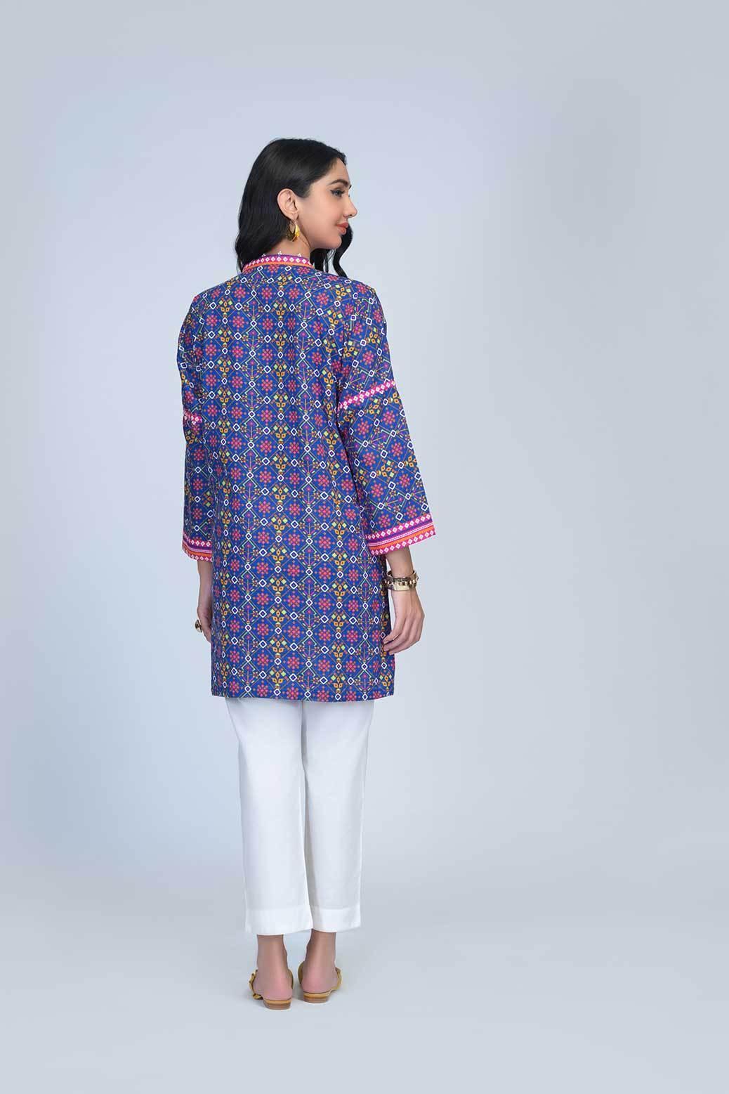 Bonanza Satrangi Ready to War Blue color dress Back-side pose