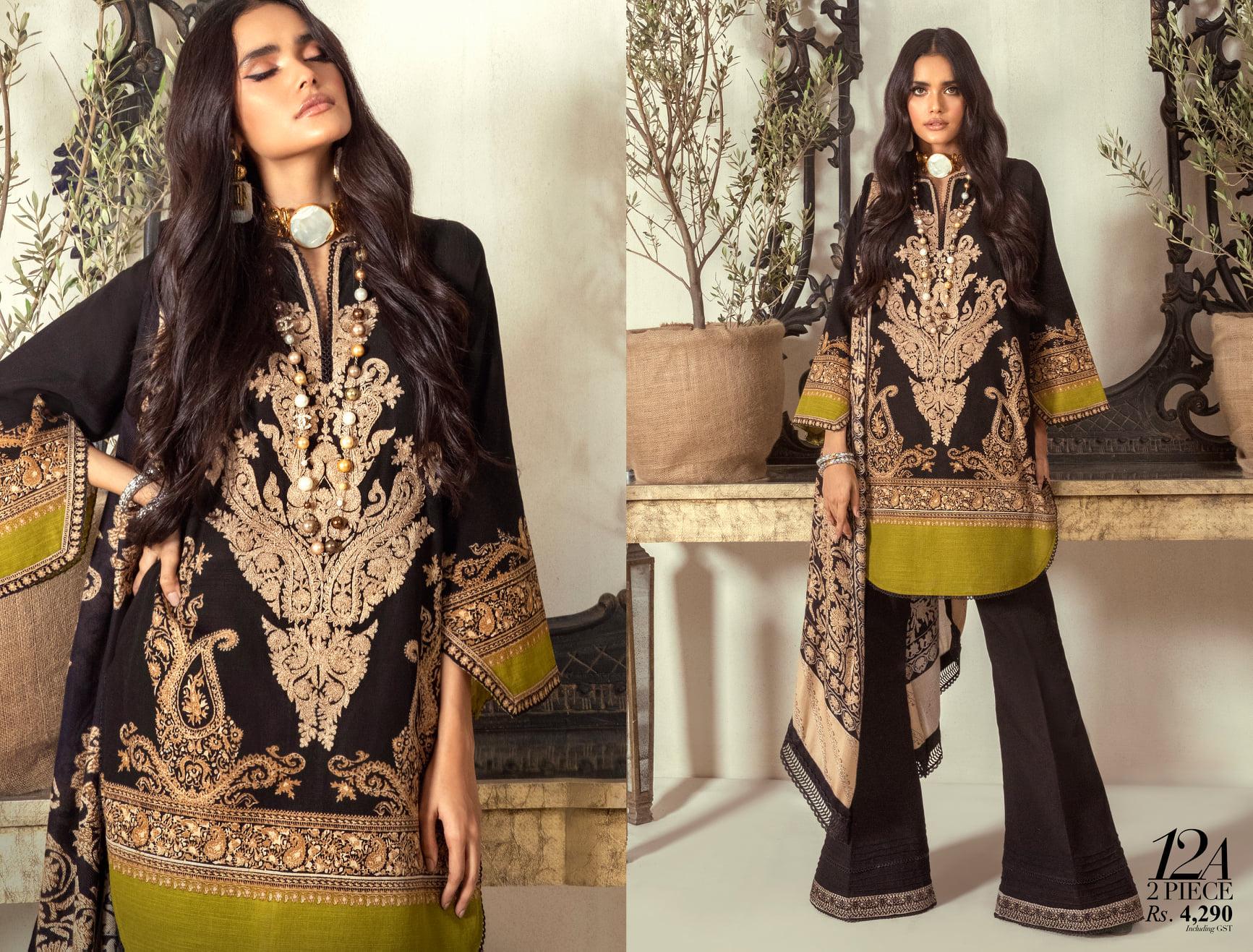 Sana Safinaz Winter Black embroiderd Dress 2021