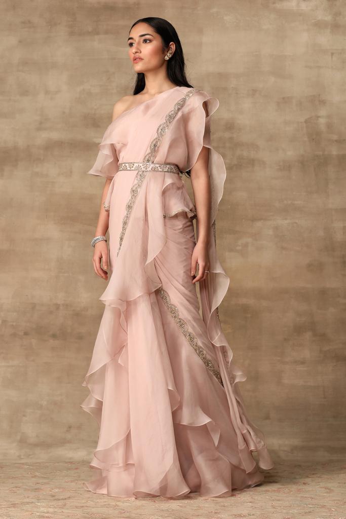 Ridhi Mehra Blush pink off-shoulder sequin detailed chiffon-organza ruffle Saree