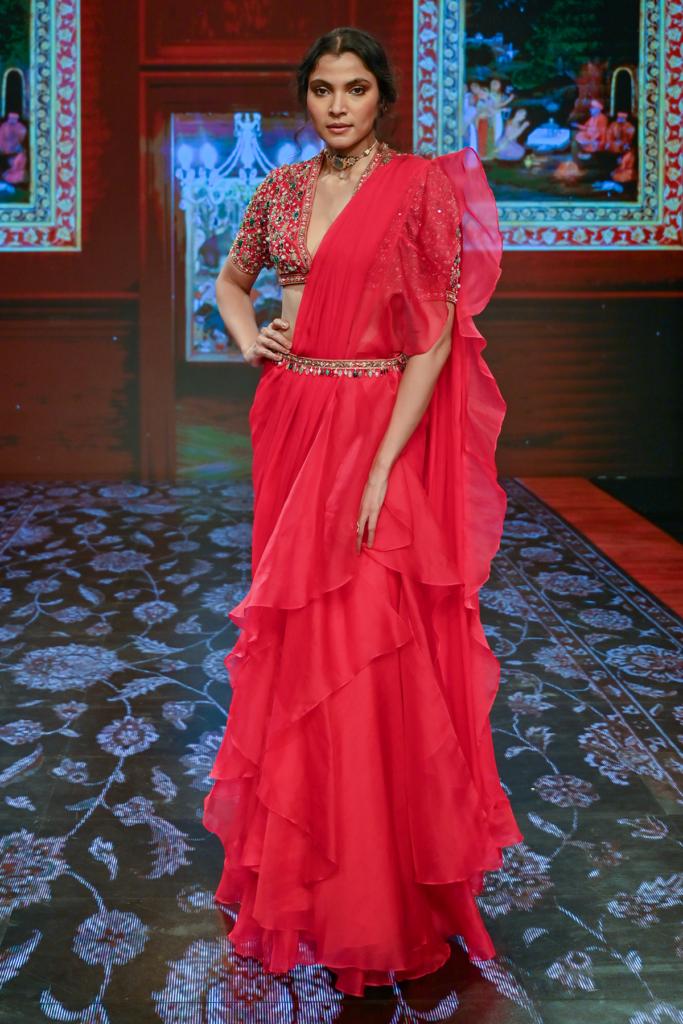 ridhi Mehra Deep fuchsia raw silk jeweled ruffle Saree