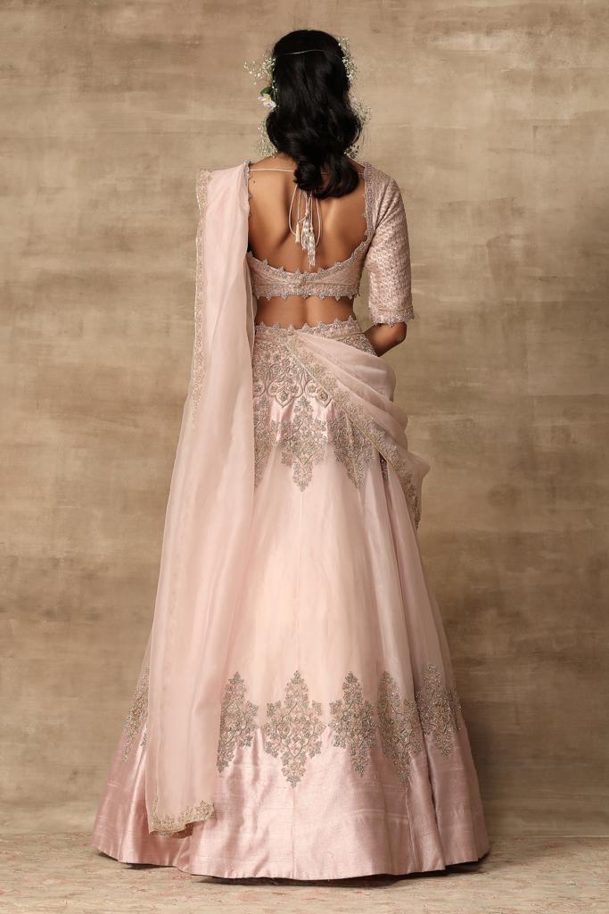 Blush pink embroidered raw silk blouse with organza Lehenga Saree Indian