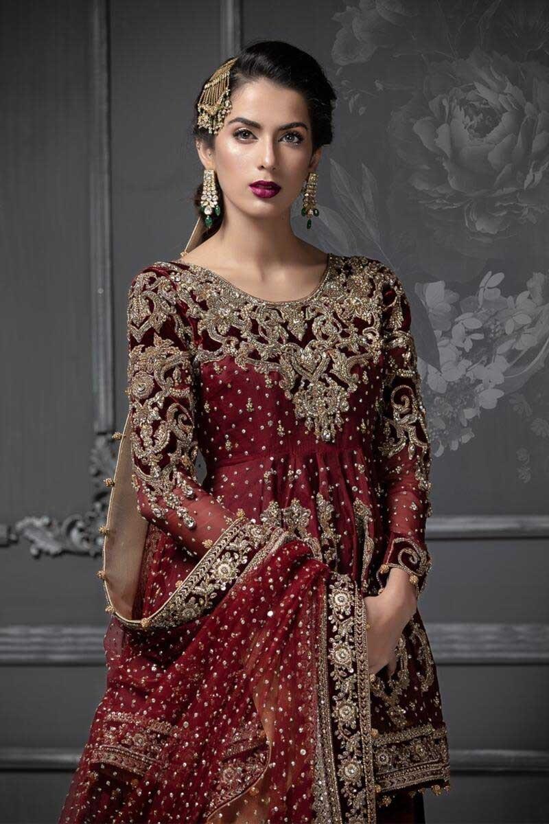 Maria B Maroon color Bridal Dress 2021