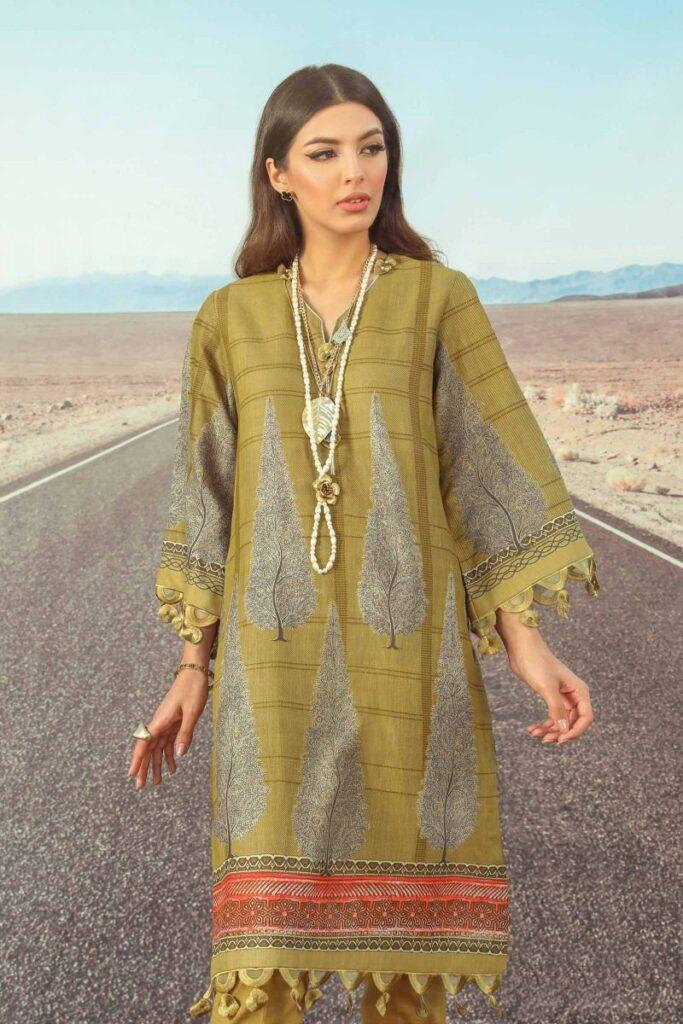 Sana safinaz Kurnool winter Olive green dress 2021