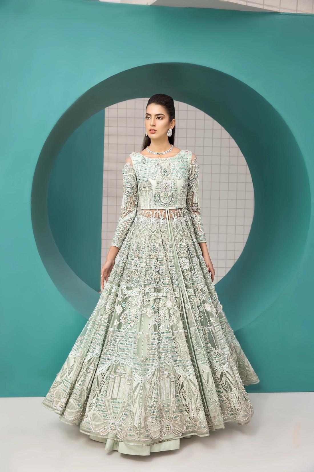 Erum Khan Aqua Maxi Bridal Dress 2021