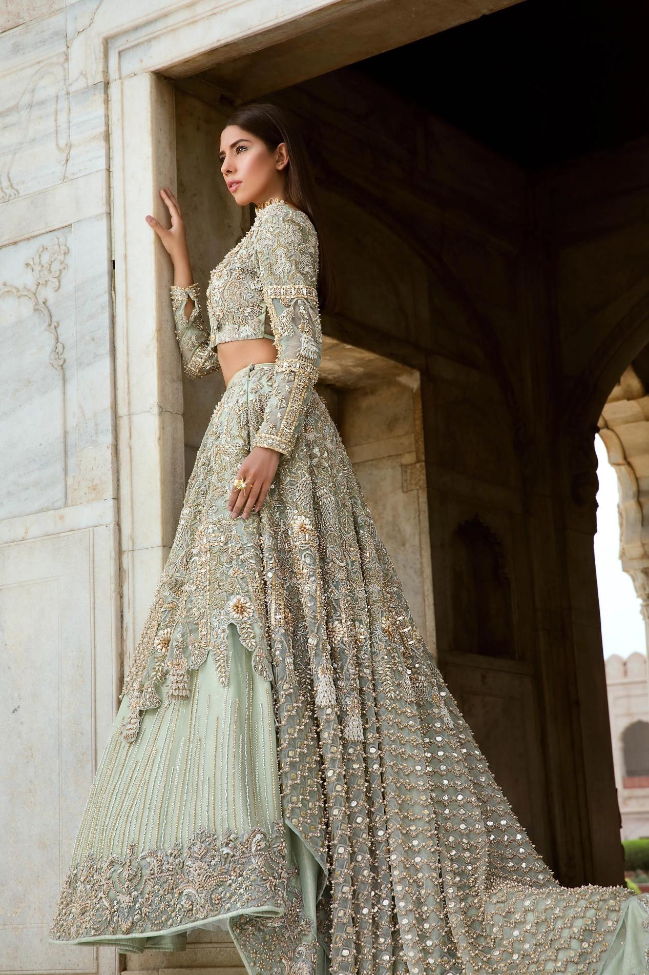 Erum Khan Garden of Eden Light Green color Bridal Dress