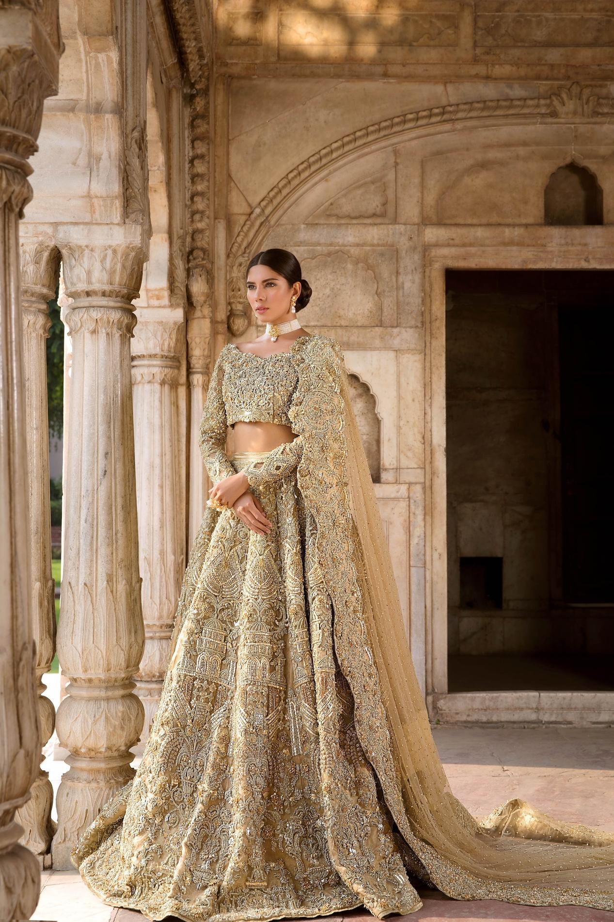 Erum Khan Garden Of Eden Peach Color bridal dress