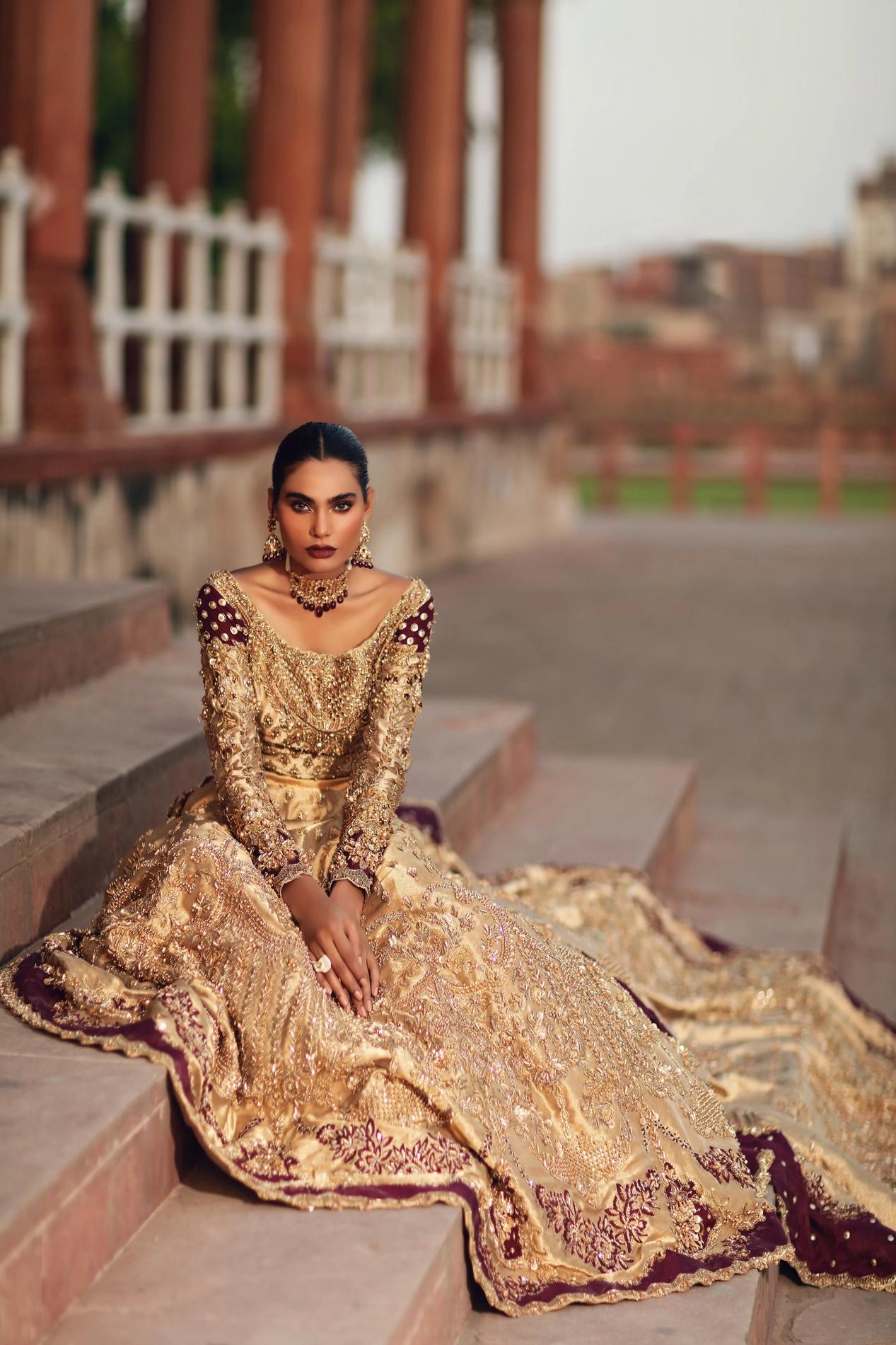 Erum Khan Tissue Golden Color Bridal Dress On Barat day