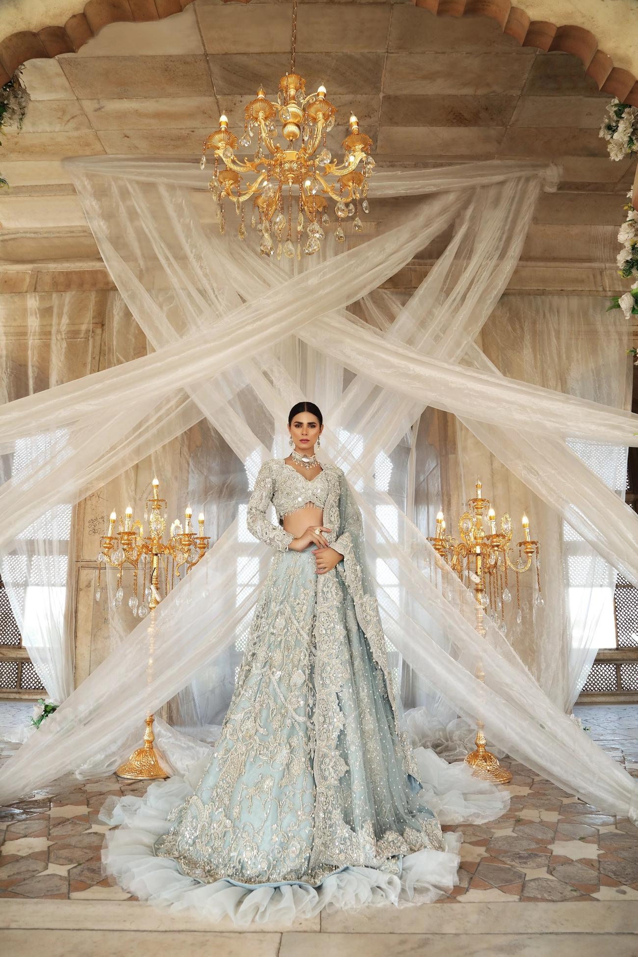Erum Khan Bridal Dress On Walima Day Ice Blue color