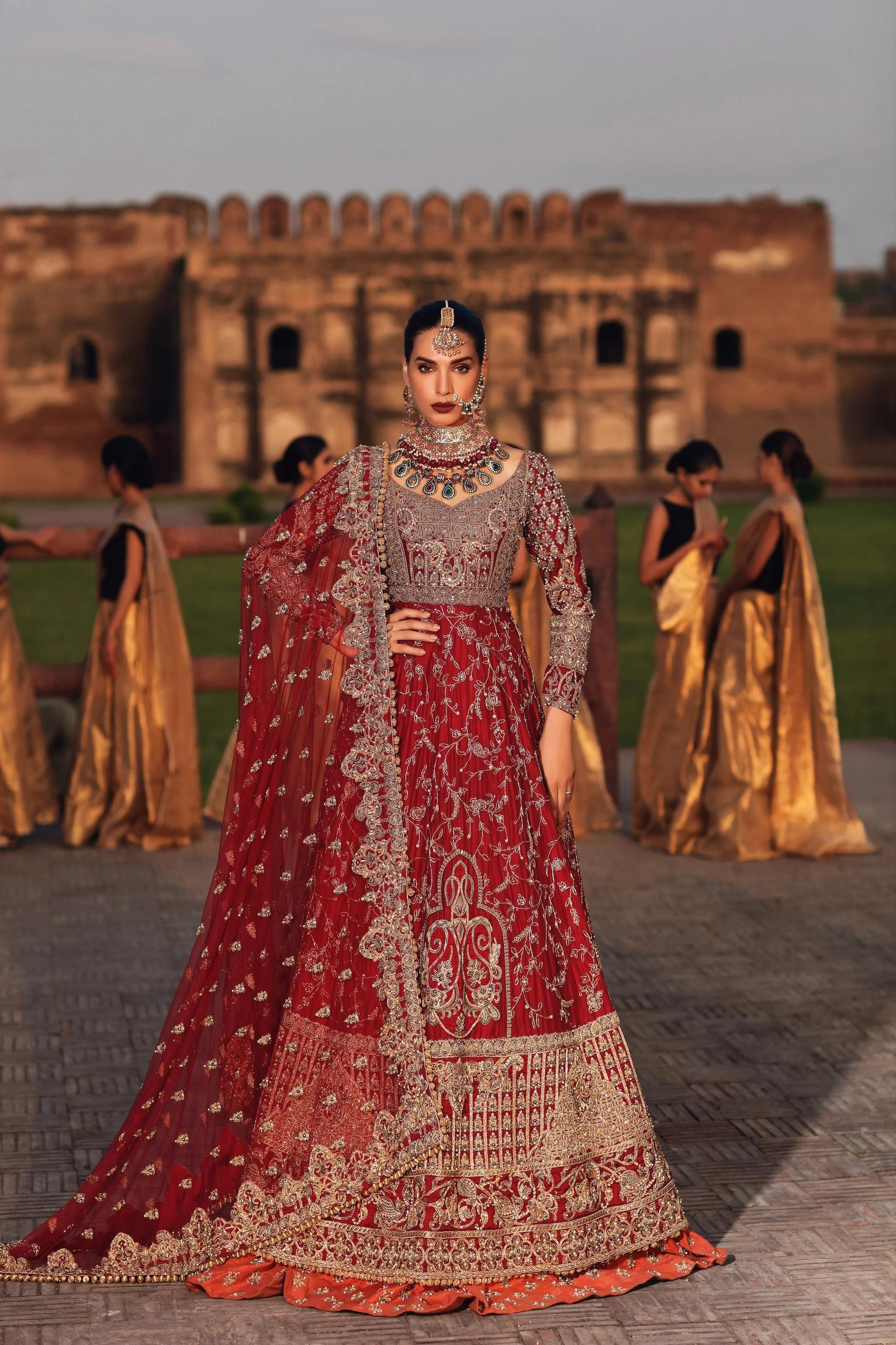 Erum Khan Raw silk Maxi Bridal Dress on barat day