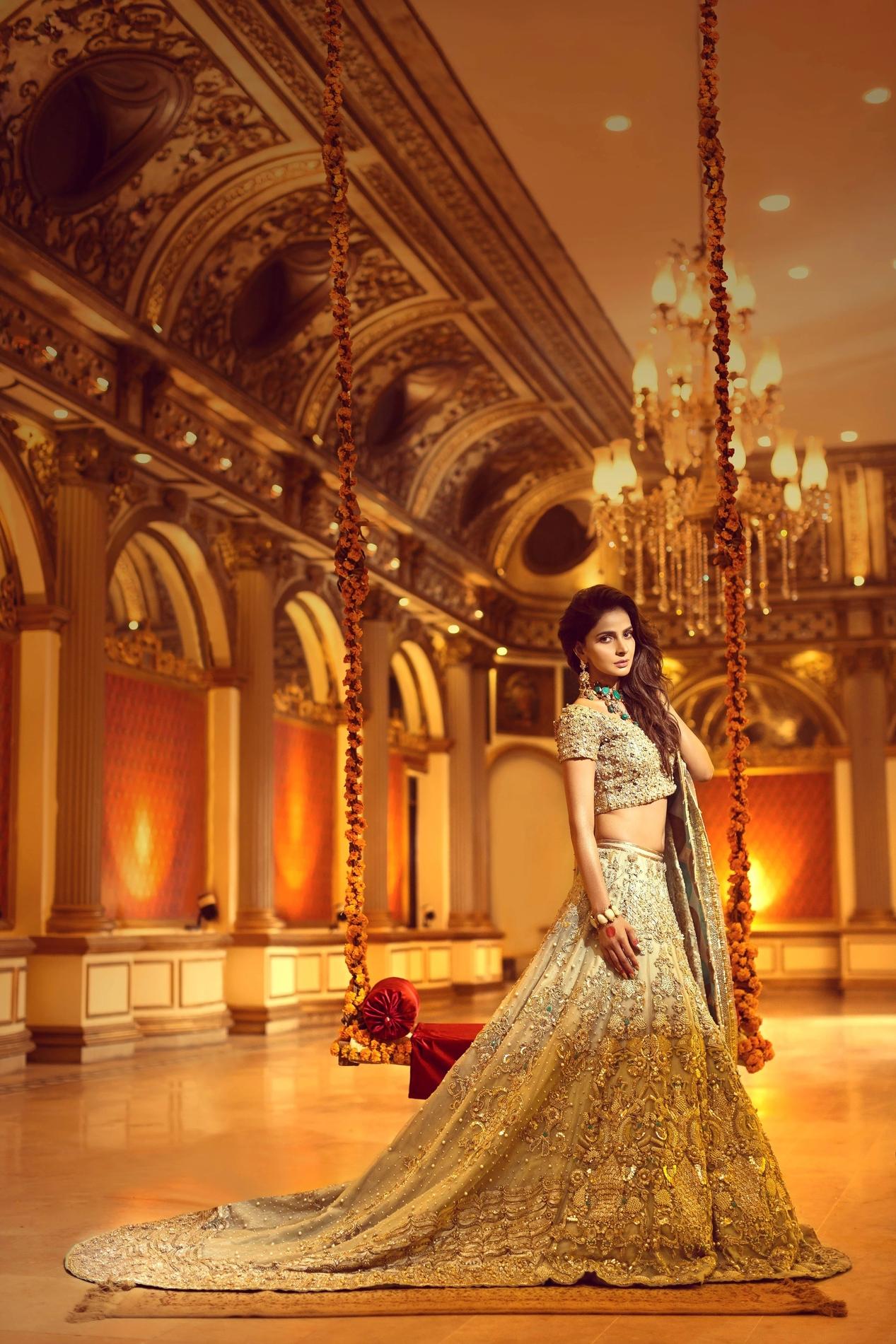 Erum Khan Nawabzadi Bridal Dress Golden color lehenga choli