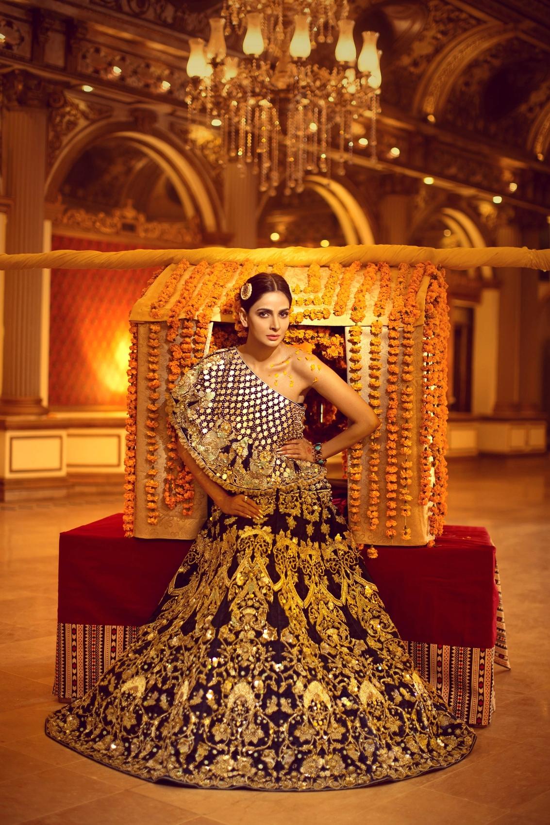 Erum Khan luxury Nawabzadi bridal dress dark blue color