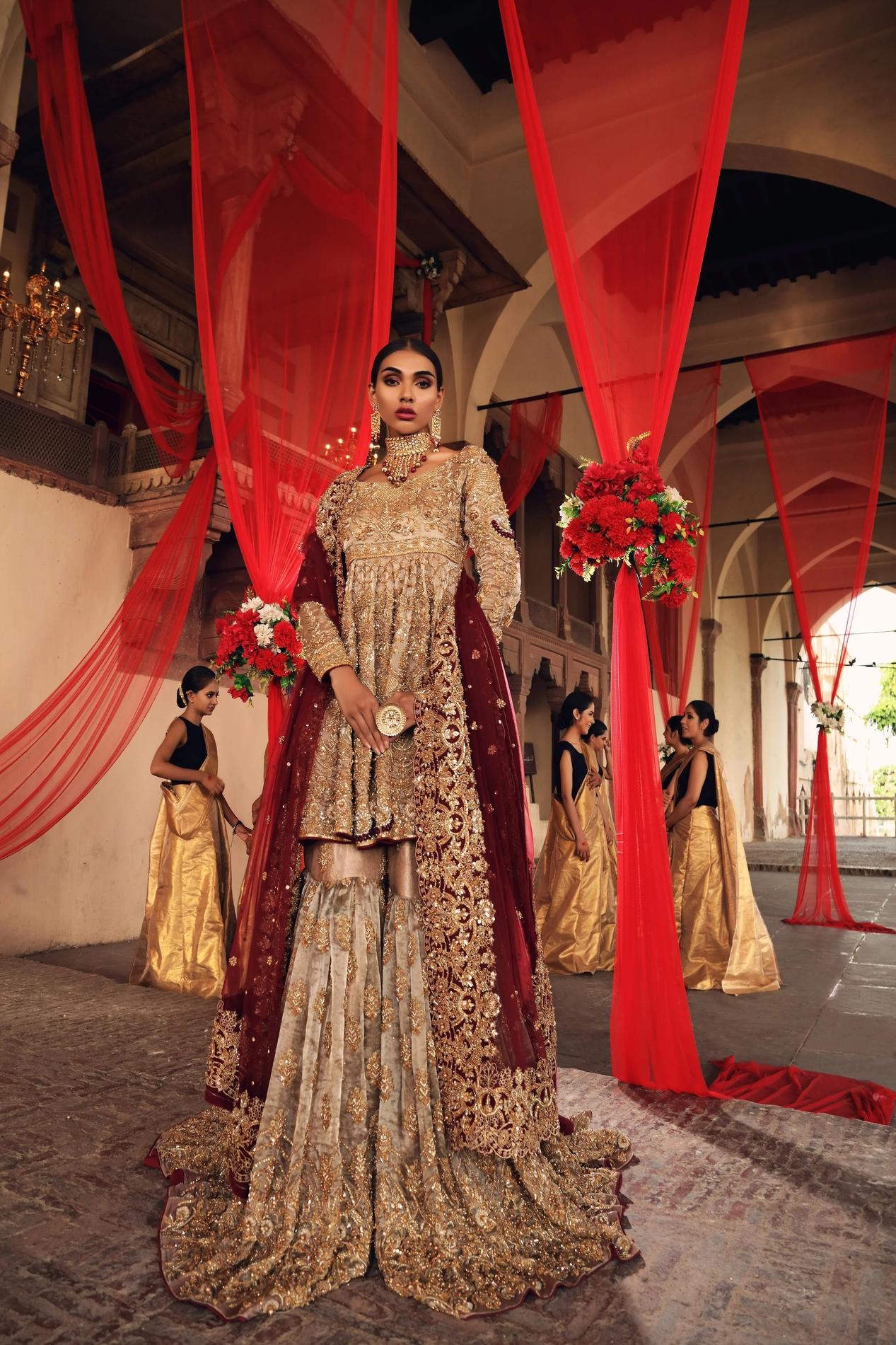 Erum Khan Tissue Gharara Peach color Bridal Dress barat day