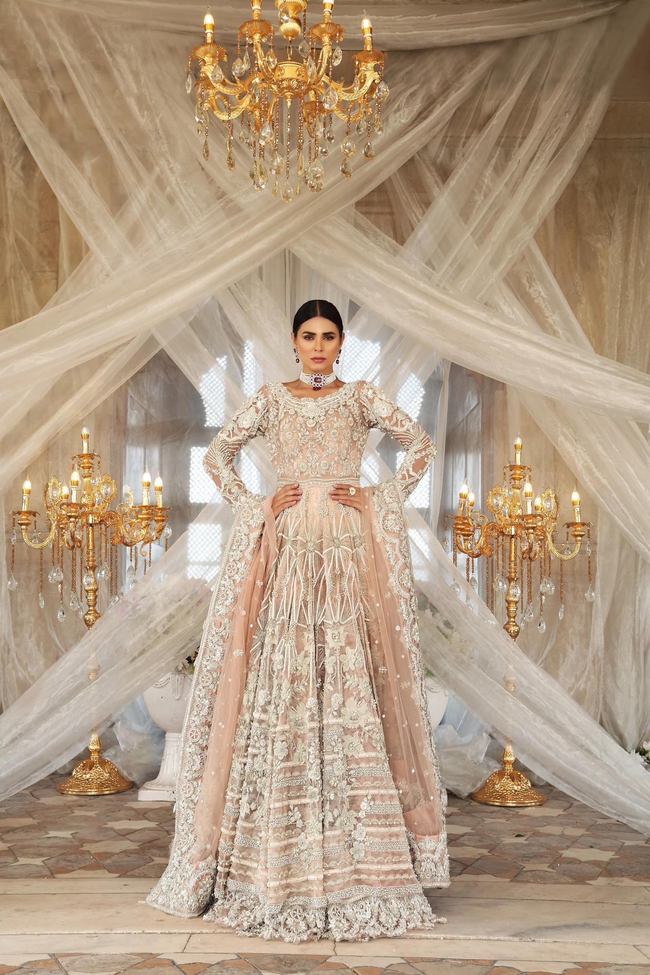Erum Khan Bridal Dress on Walima Day Open Maxi Pink side